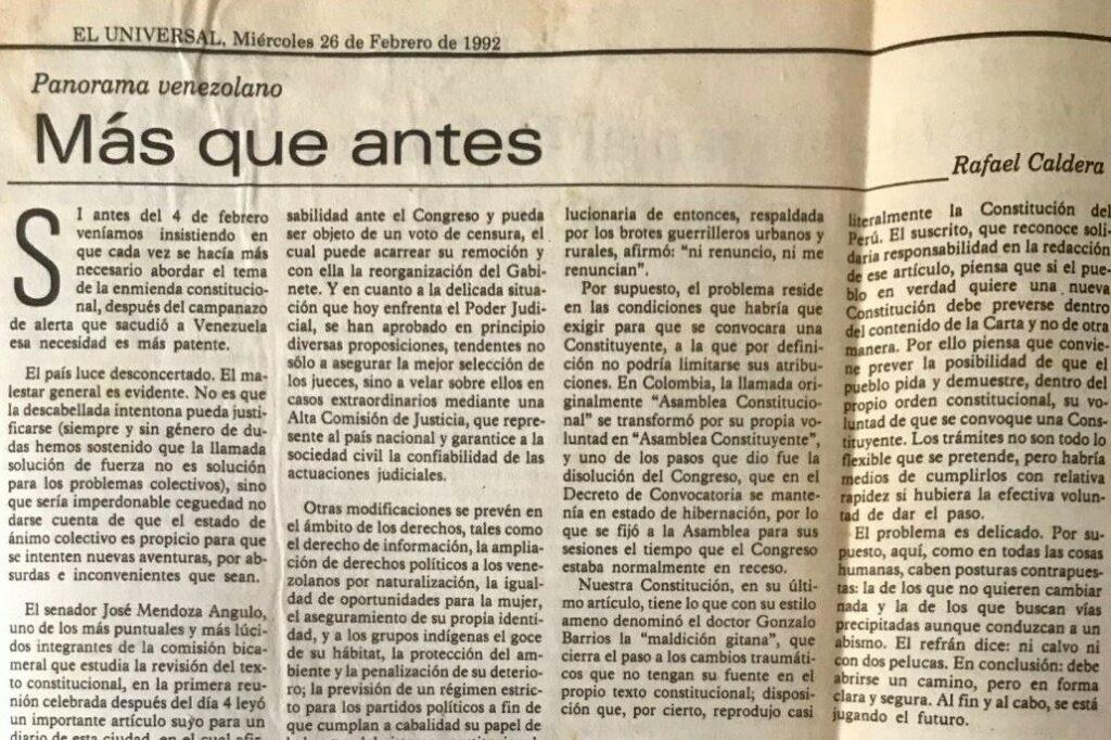 Rafael Caldera - 1992. Febrero, 26. ALA El Universal Más que antes