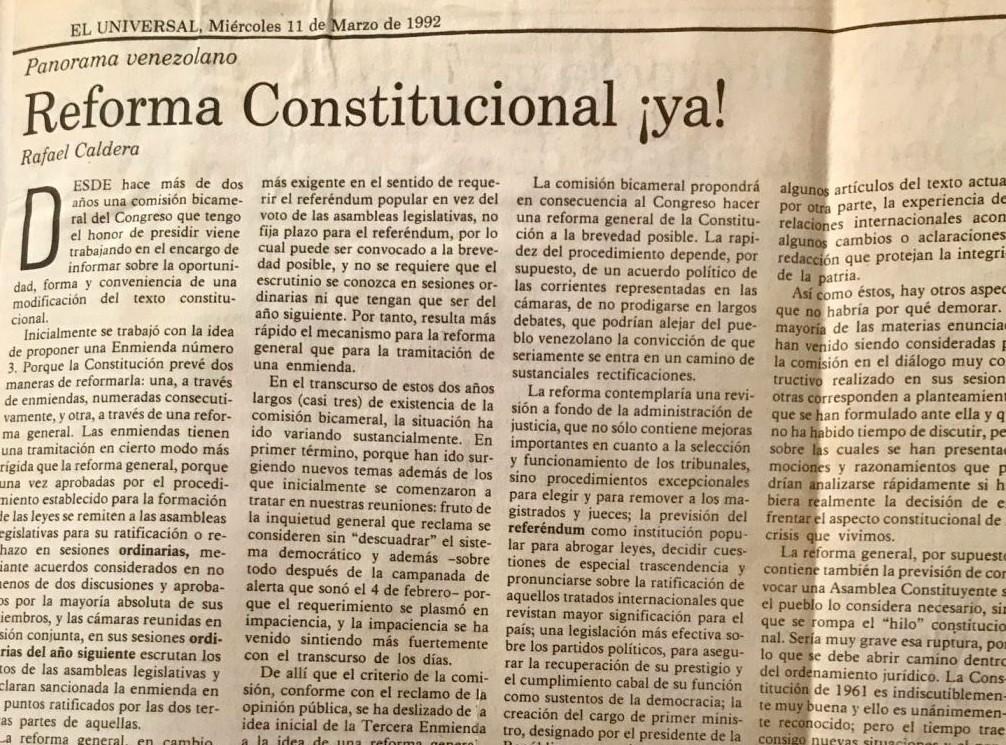 Rafael Caldera - 1992. Marzo, 11. ALA El Universal Reforma constitucional ¡Ya!