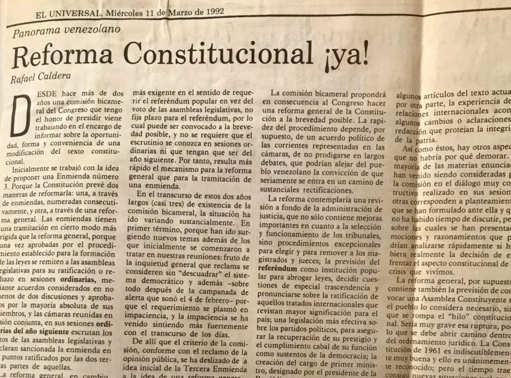 1992. Marzo, 11. ALA / El Universal: Reforma constitucional ¡ya!