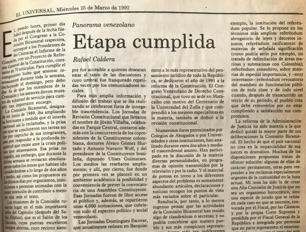 1992. Marzo, 25. ALA / El Universal: Etapa cumplida