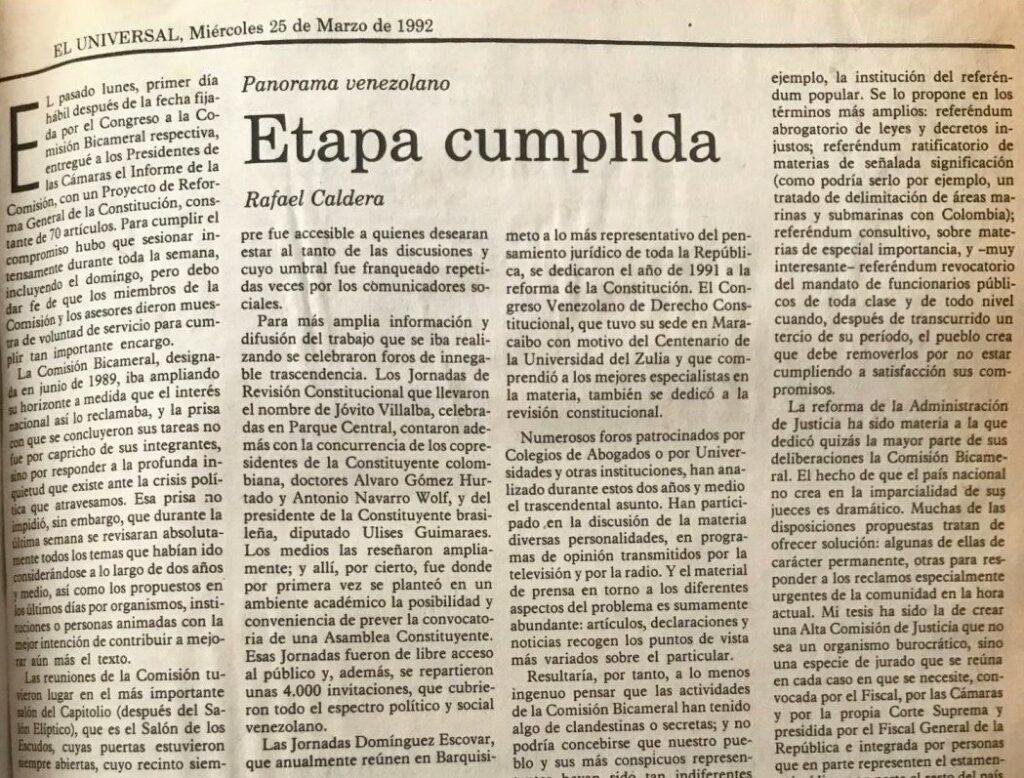 Rafael Caldera - 1992. Marzo, 26. ALA El Universal Etapa cumplida
