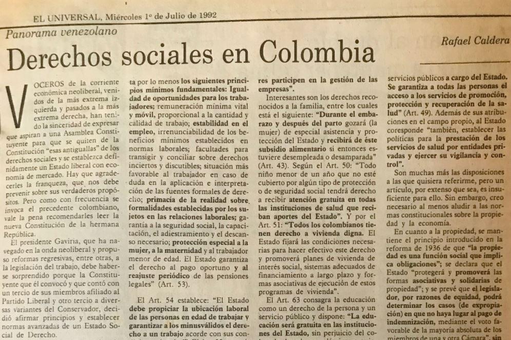 1992. Julio, 1. ALA / El Universal: Derechos sociales en Colombia
