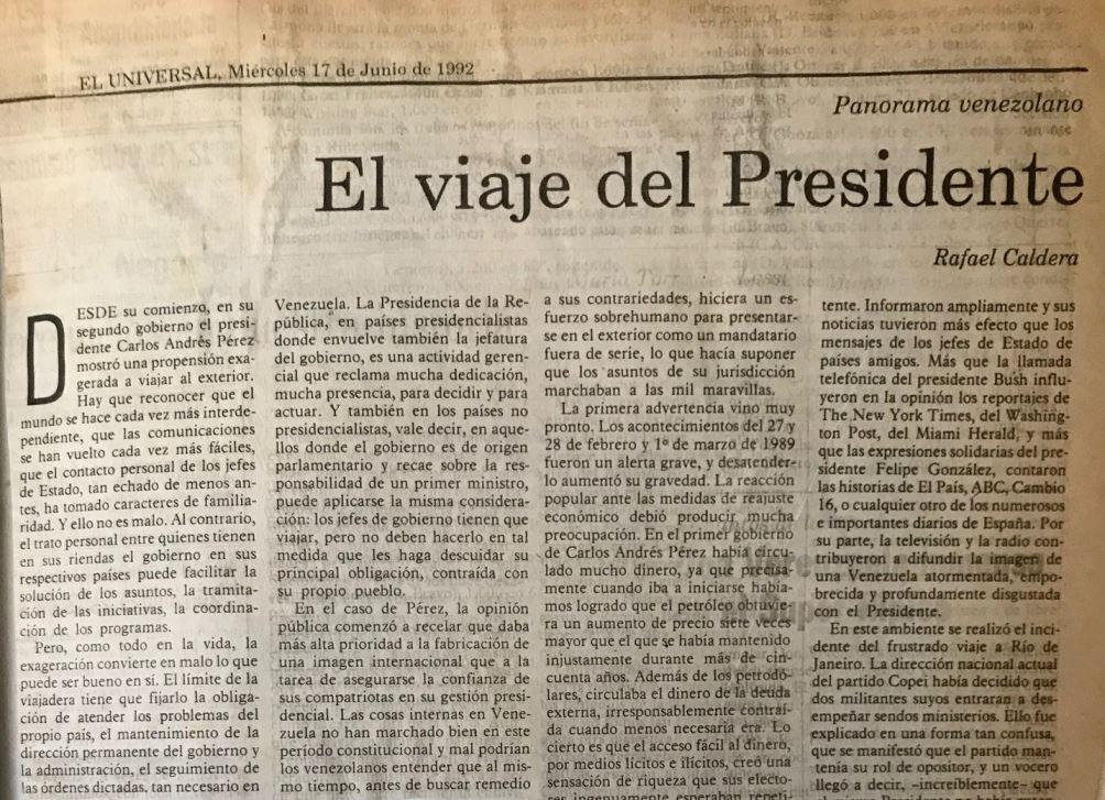1992. Junio, 17. ALA / El Universal: El viaje del presidente