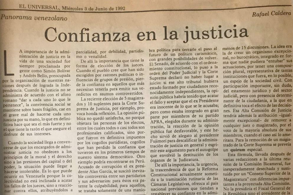 Rafael Caldera - 1992. Junio, 3. ALA El Universal Confianza en la justicia