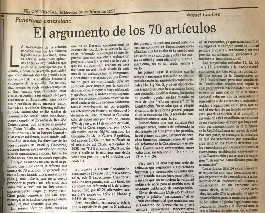 El argumento de los 70 artículos Rafael Caldera