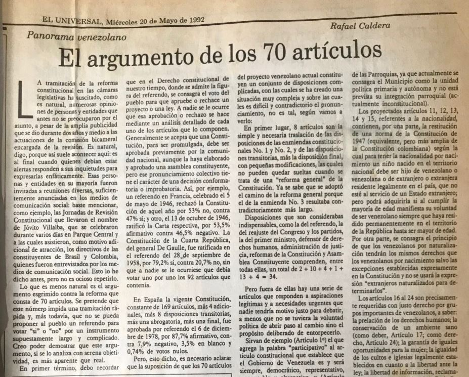 1992. Mayo, 20. ALA / El Universal: El argumento de los 70 artículos