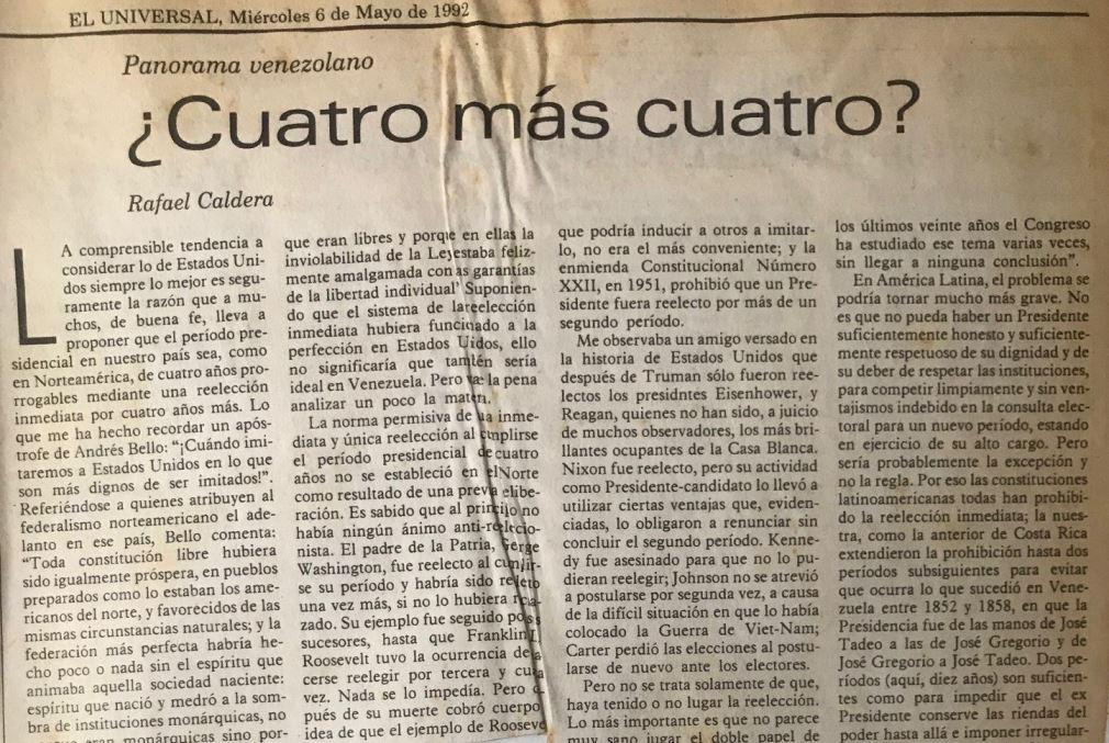 Rafael Caldera - 1992. Mayo, 6. ALA El Universal ¿Cuatro más cuatro