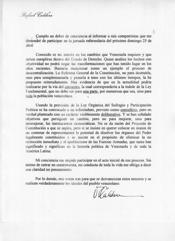 Rafael Caldera - 1999 Carta sobre Constituyente