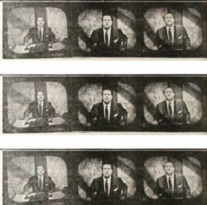 Rafael Caldera durante una charla televisada en Radio Caracas Televisión. Tomada del vespertino El Mundo, sábado 9 de agosto de 1958.