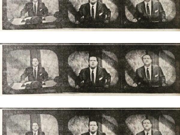 Rafael Caldera - Rafael Caldera durante una charla televisada en Radio Caracas Televisión. Tomada del vespertino El Mundo, sábado 9 de agosto de 1958