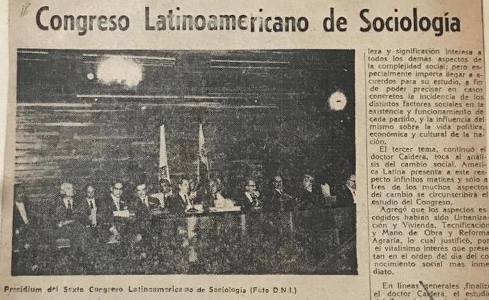 Rafael Caldera al instalar el VI Congreso Latinoamericano de Sociología (1961)