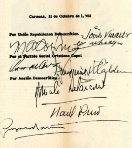 Pacto de Puntofijo. Revista Elite # 1.728 del 8 de noviembre de 1958.