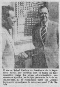 1977 Mayo 17 Entrevista Olmedo Lugo para El Universal