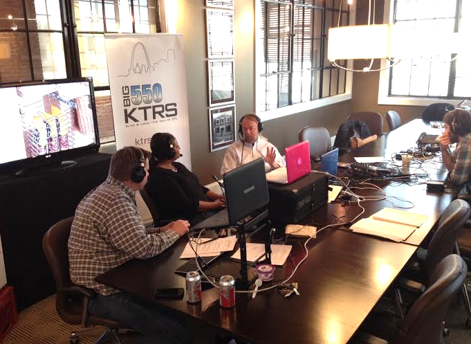 Mcgraw Milhaven and Kelly Jackson interview University City's Joe Edwards at the St. Louis closet Co. Tuesday morning.