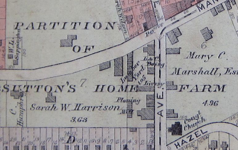 This portion of the 1909 Maplewood map shows the Marshall home still extant with some newer commercial buildings fronting Manchester.