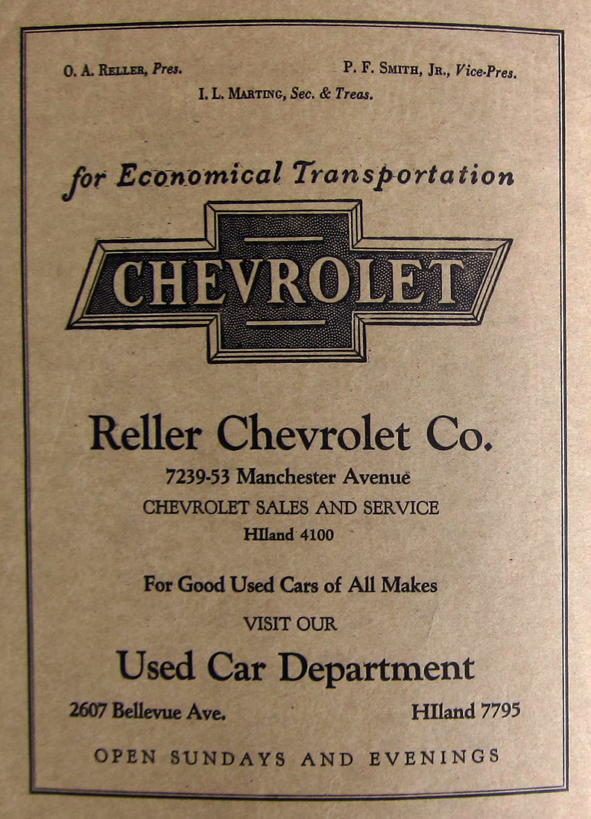 A Reller Chevrolet ad from the inside of the front cover of the 1930 Richmond Heights City Directory. Courtesy of Martin Fischer.