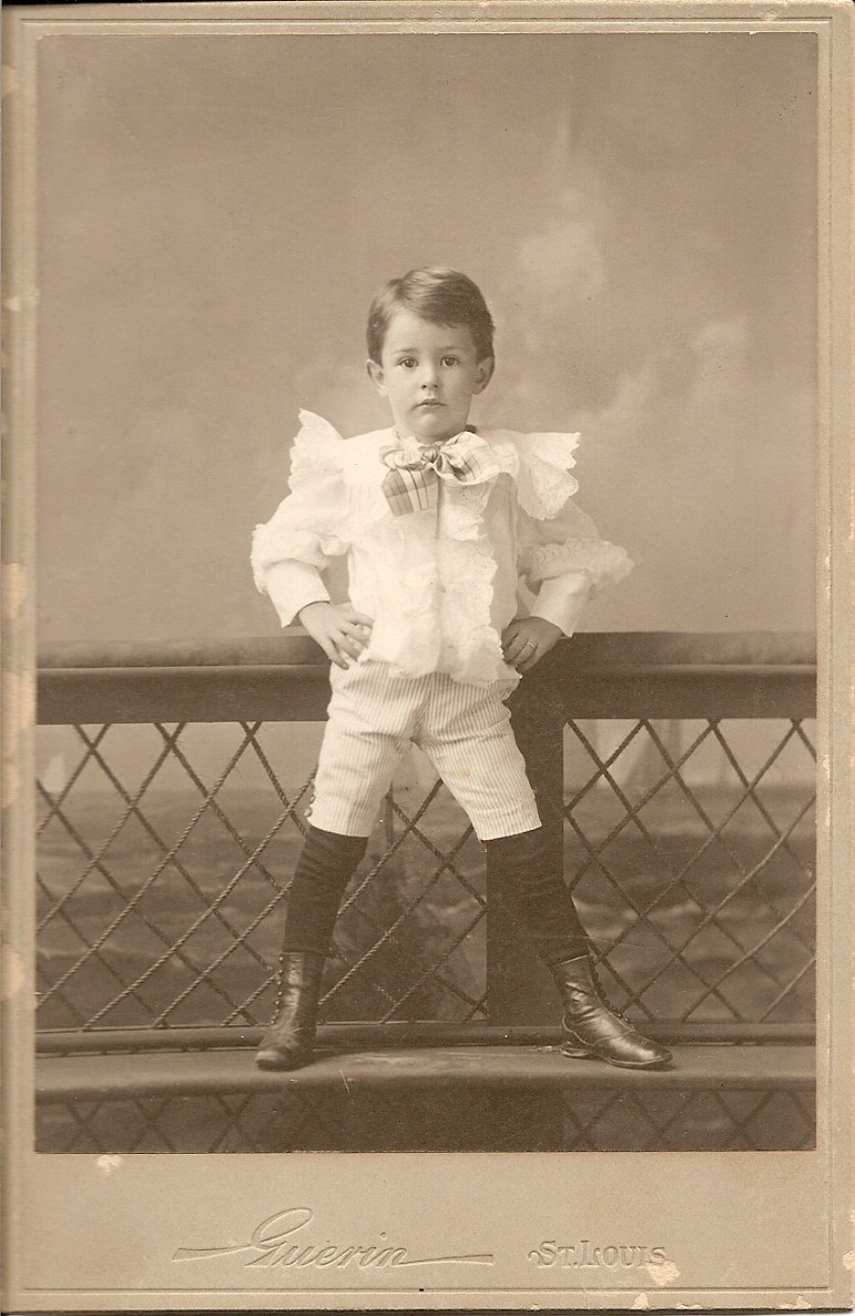 """The back of the photo reads, """"Cartmell Rannells, age three, first pants ."""