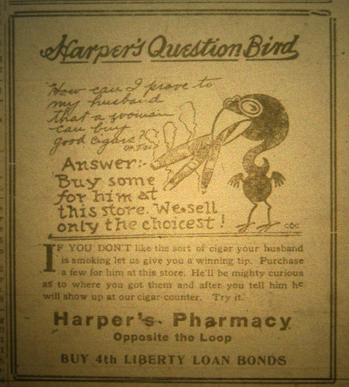 Harper's Pharmacy cigar ad from the 1916 Maplewood News-Champion.