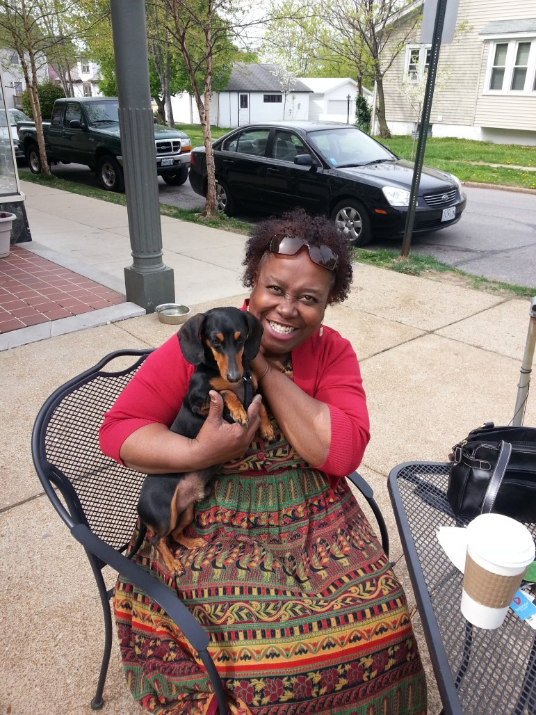 Craven the Therapy dog and handler Toni Jackson; LMT, NCTMB Board Certified Massage Therapist with Wellness Choice. Craven visits schools, nursing homes and corporate offices and is in popular demand.