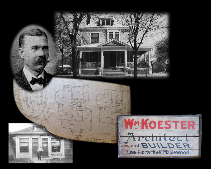 This collage was created by Yours Truly for Jim and Beth Abeln, the current owners of the Koester home.  The floor plan and the sign are from the Abeln collection.  The other images are from the Maplewood Public Library.