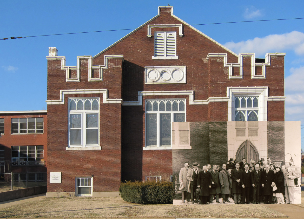 The current Methodist church building was built by Koester in 1915.  the historic image is from the Maplewood Public Library.