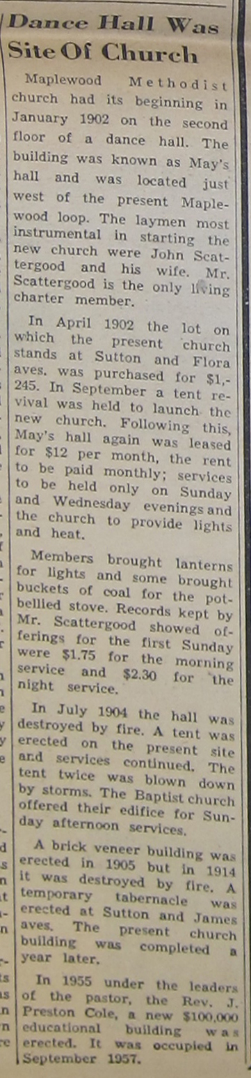 As the clipping states the first Methodist church was lost to fire in 1914.