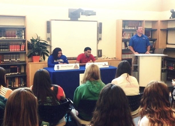 Mariah Russell and Andrew Weaver signed to play sports in college. Photo credit: MRH