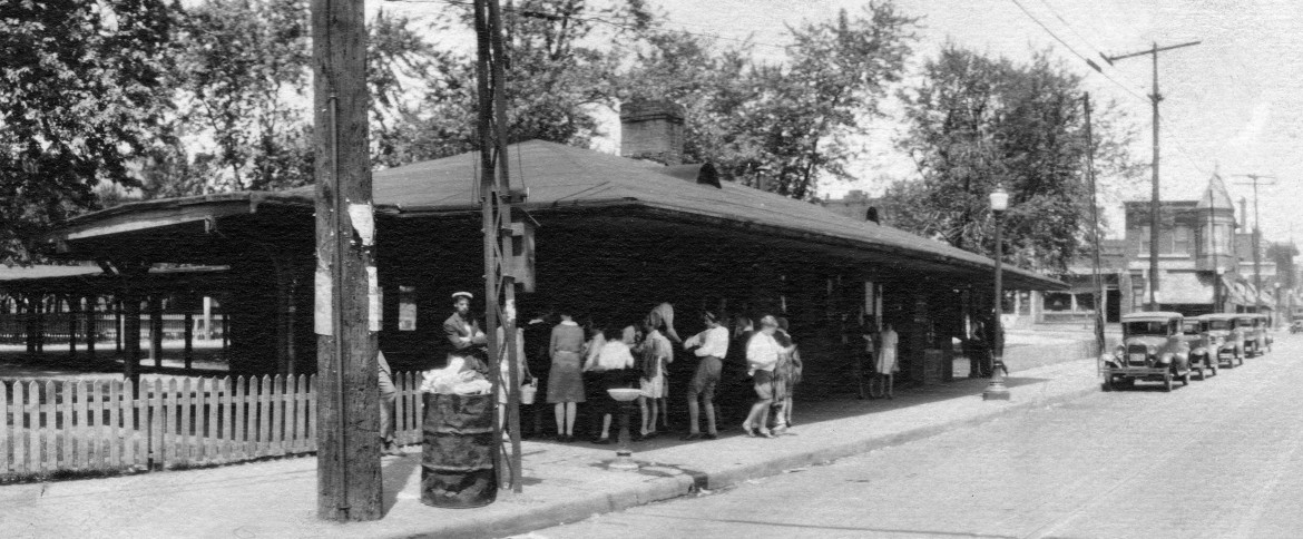 Now how old is our pavilion? It wasn't there in 1930 when this photo of the old depot was taken. BTW this is a section of the 360 degree panoramic photo kindly donated by Mary Harper Hall and now in the collection of the Maplewood Public Library. I'll post the whole photo soon.