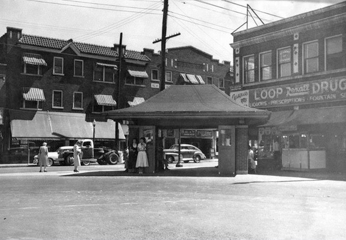 Did you realize our Sutton Loop pavilion once had a twin? Here it is in the Yale Loop at Yale and Manchester. That is the Maplewood Theater building directly behind it. the car seen by looking through it is either a 48-9 Chevy or a possibly a Pontiac of the same years. The careful observer will note that there are no streetcar tracks in this photo. So we can't be absolutely certain yet that the shelter is streetcar era. I'm fairly certain the streetcar stopped running in 1949. If anyone can verify that please do. Also note that the shelter doesn't look brand new. Finally note that it has doors. Ours on Sutton probably did too.