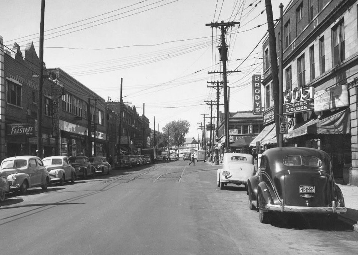 This photo and the one prior were both found on a Facebook page called Vintage St. Louis. Notice that the streetcar tracks are being paved over but they still exist and turn into the Yale Loop in the middle of the photo where the twin to our Sutton pavilion can be seen. This is probably as close as we can get to proving that the pavilions were of the streetcar era but that really doesn't matter, does it? We had two now we've only got one. Let's keep it.