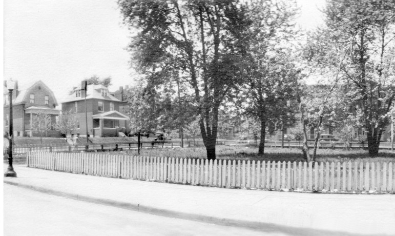 Going from left to right, this first section shows the first house on Maple just west of Sutton and a picket fence that once bordered the Maplewood Loop.  a lot of folks refer to it as the Sutton Loop today but I'm not going to.  I don't think that was ever its name in the past.