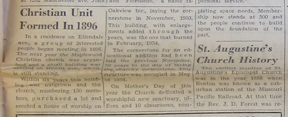 Newspaper clipping from the 1958 Jubilee section of the Maplewood Observer.  Courtesy of the Maplewood Public Library.