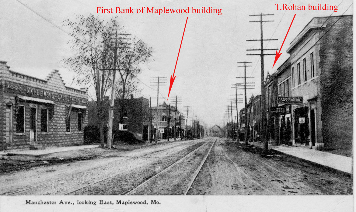 This image is in the Maplewood library's collection but I think it also may have come from the collection of Donna Rakowski originally.  From memory the post mark on the back of this card is from 1909.