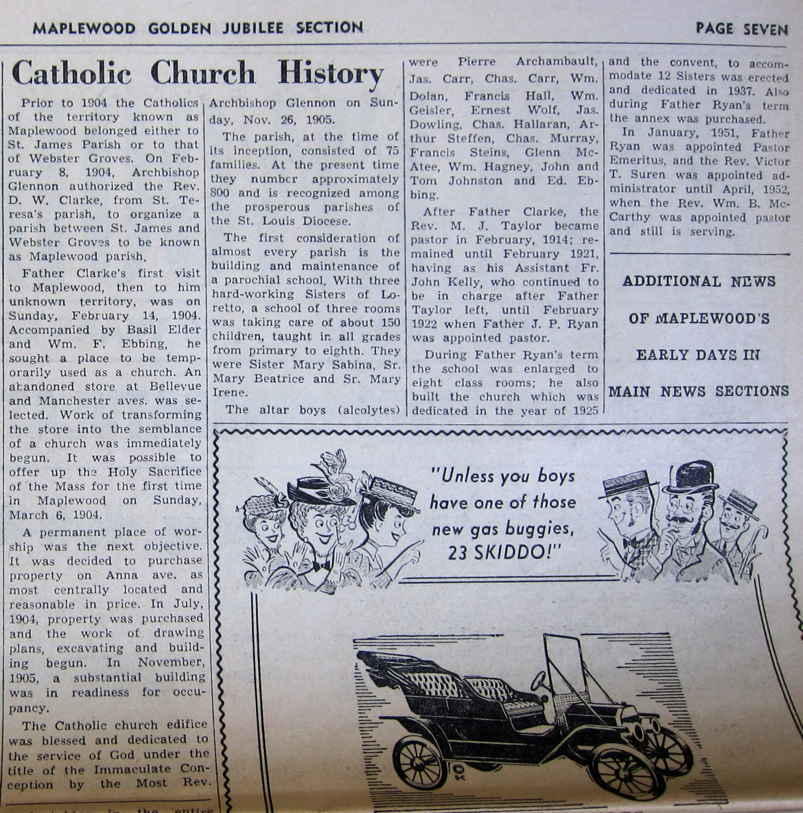 First a little history.  this article is from The Observer newspaper, Sept. 10, 1958.  This edition featured the Maplewood's 50th anniversary called the Golden Jubilee.  Courtesy of the Maplewood Public Library.