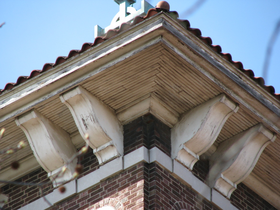 A detail of the cornice of the campanile in 2010.