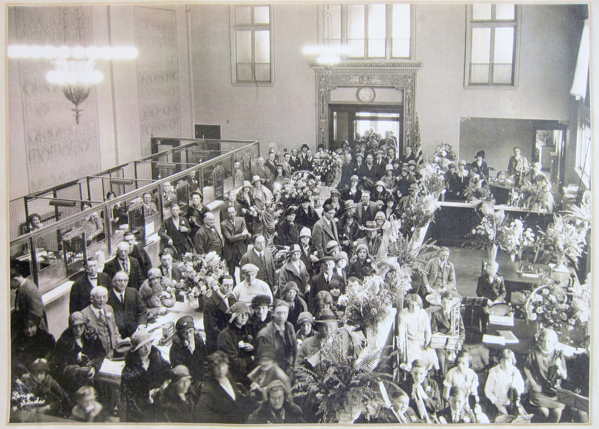 The interior during the grand opening.  Courtesy of the Maplewood Public Library.