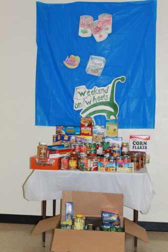 MRH Middle School student bring in a ton of food for WOW