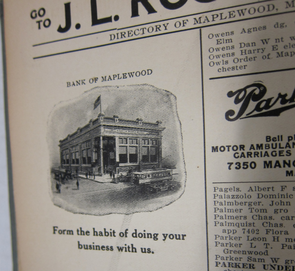 This drawing depicts what must have been the second building used by the Bank of Maplewood.