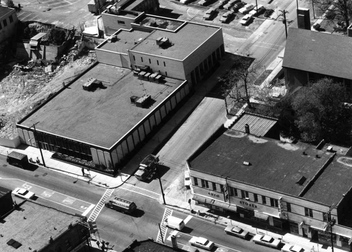 By the time this aerial photo was taken in 1967, Citizen's Bank has expanded to the corner and western auto has moved across the street into the spot once occupied by the Bank of Maplewood.  But what happened to the original building?  I would have never made the connection without the answer provided by Wanda.  That is the original building with a new facade.