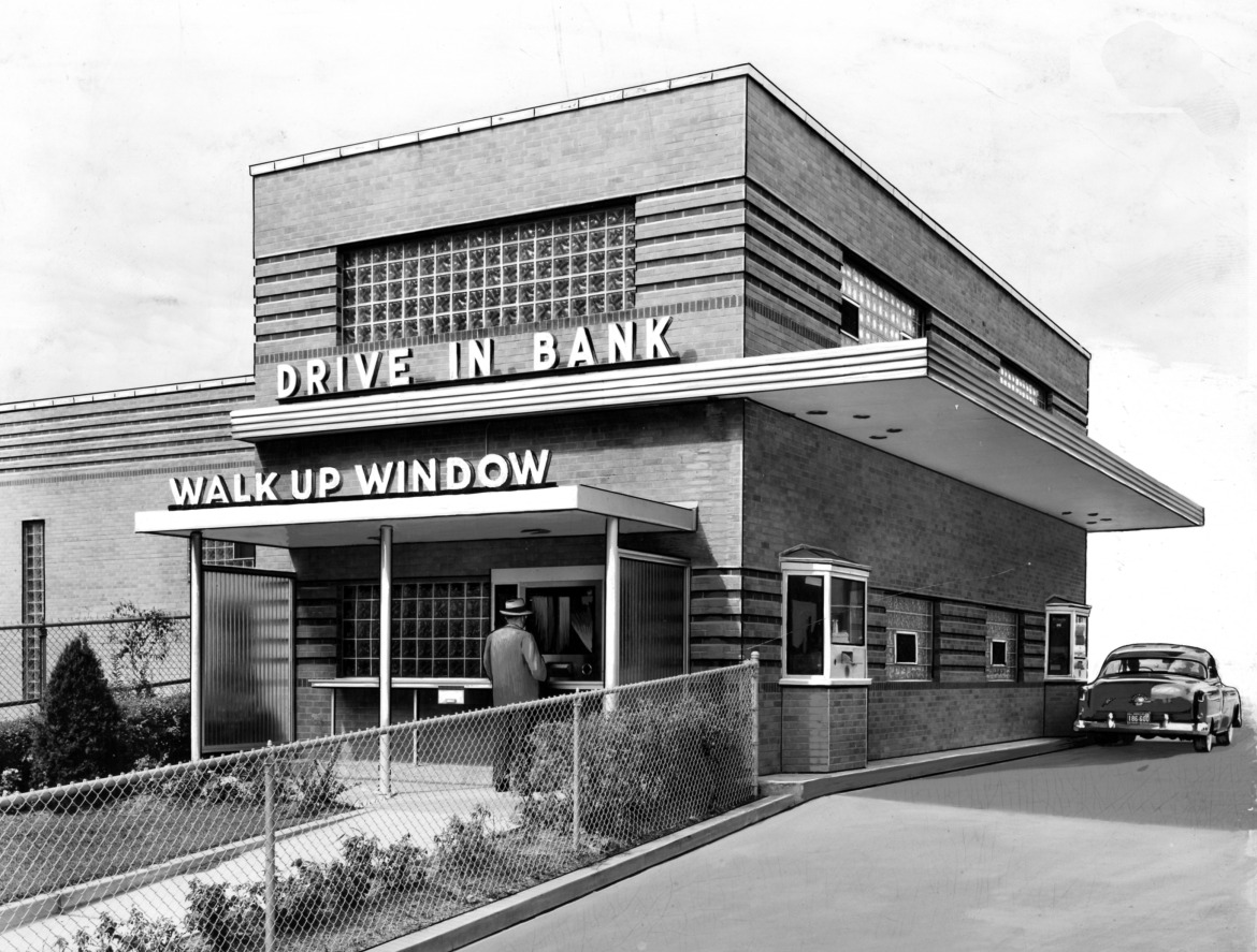 The building in question is the very fine mid-century modern drive up facility of Citizen's Bank.