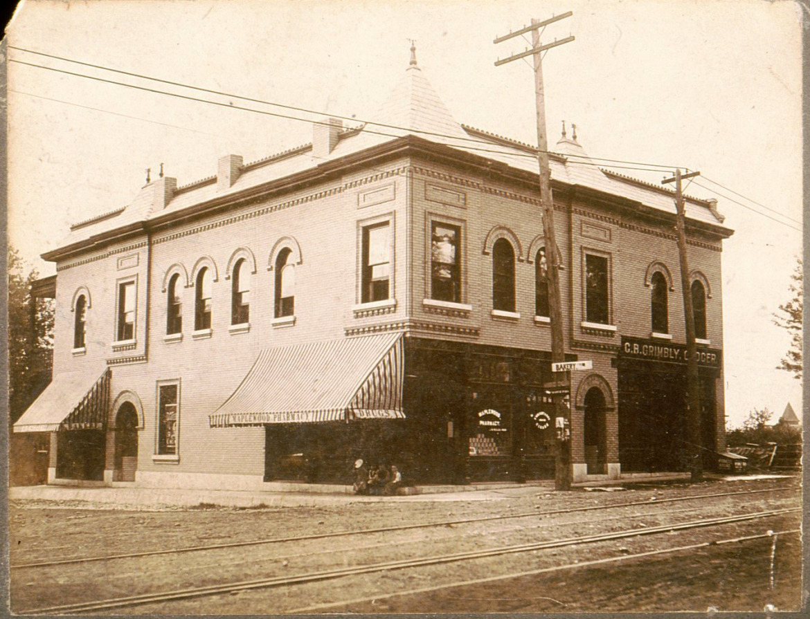 This magnificent building once occupied the site where Citizen's Park is now located.  Visible to the left is the steeple of the congregational Church indicating that  not much development happened.