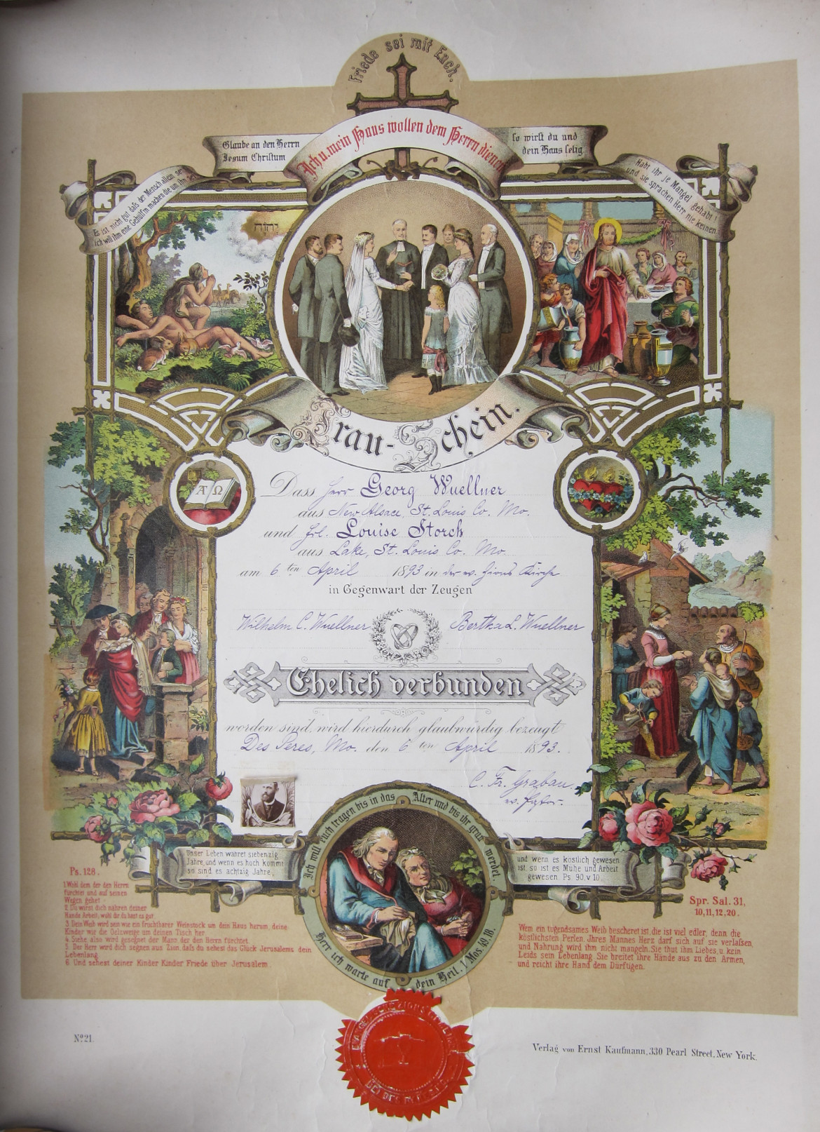 The marriage certificate of Matt's great-great grandparents, Georg Wuellner and Louise Storch.