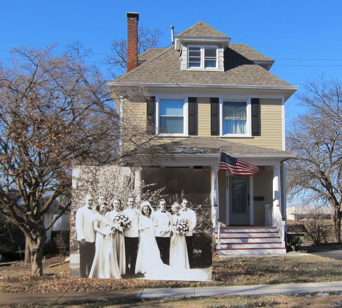 The wedding party superimposed on a recent image of the home.  I think Marjorie would have to be pleased with the condition of her home today.