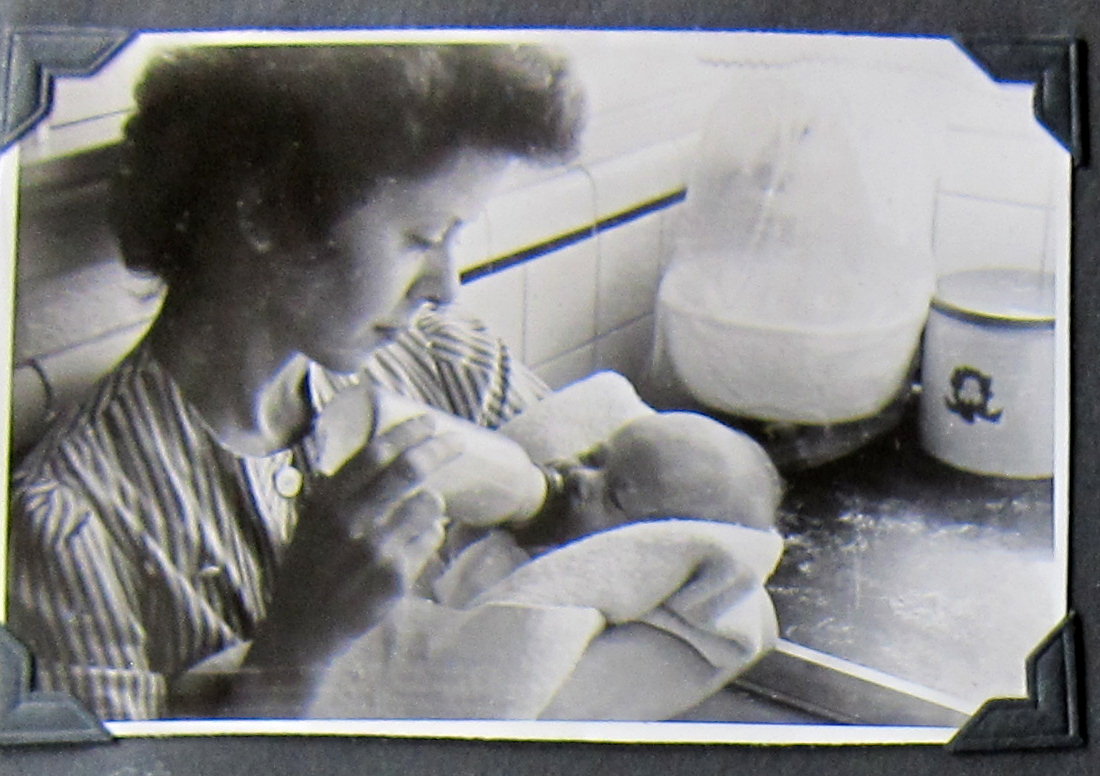 Marjorie and her new baby.  Looks like a picture of domestic bliss but we have no information about how their lives went.  We can just hope that Bob made it through the ordeal of war without serious injury.  It would be nice to imagine they had a long and peaceful lives together.