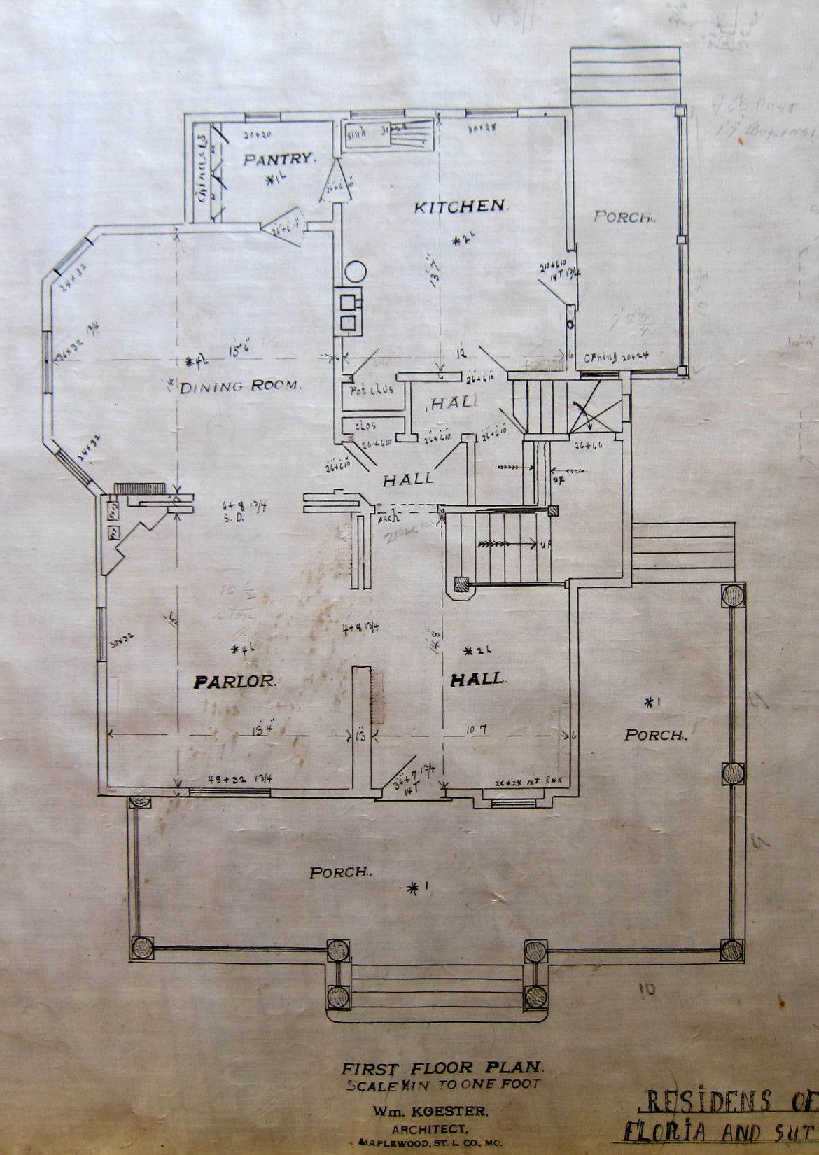The first floor plan of Koester's home at 7395 Flora.  From the collection of Jim and Beth Abeln.