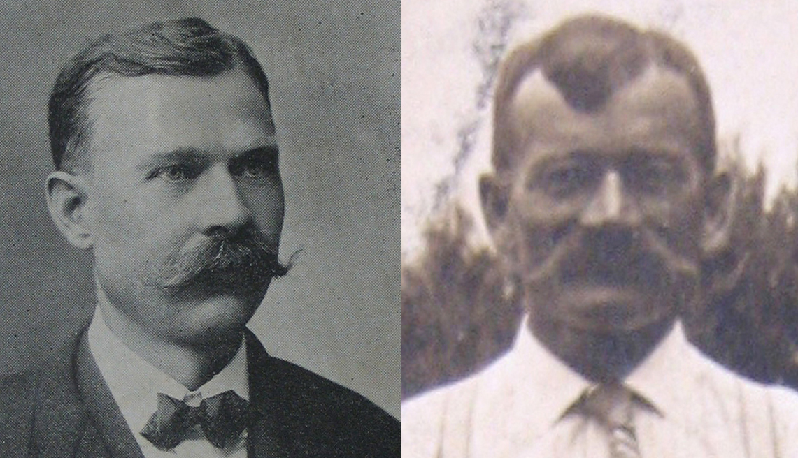 Take a final look at the Koester doppelgangers.  we've all been told we have one but imagine you were one of these guys.  Not only does your doppelganger live in the same town and have a daughter the same name as your daughter, he also has the exact same name as yours. If one or the other was feeling their identity was a little encroached upon and then the other guy shows up with your mustache too!  It would be enough to make a guy want to put wings on his roof.