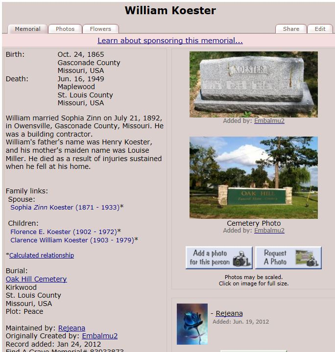The Flora Koester's Find A Grave page.