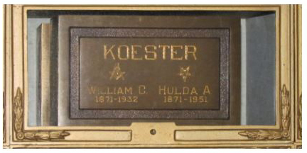 The Oxford Koesters final resting place is at the Valhalla Crematory.