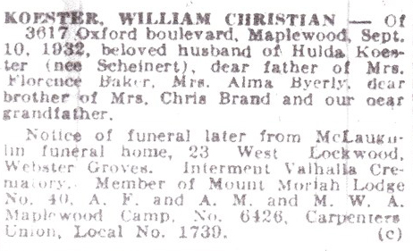 This obit dated Sept. 10, 1932, clearly shows the 3617 Oxford address and in addition to Florence, another daughter, Alma.  It also verifies that Koester was a carpenter as well as a Mason.  Courtesy of Pat Baker.
