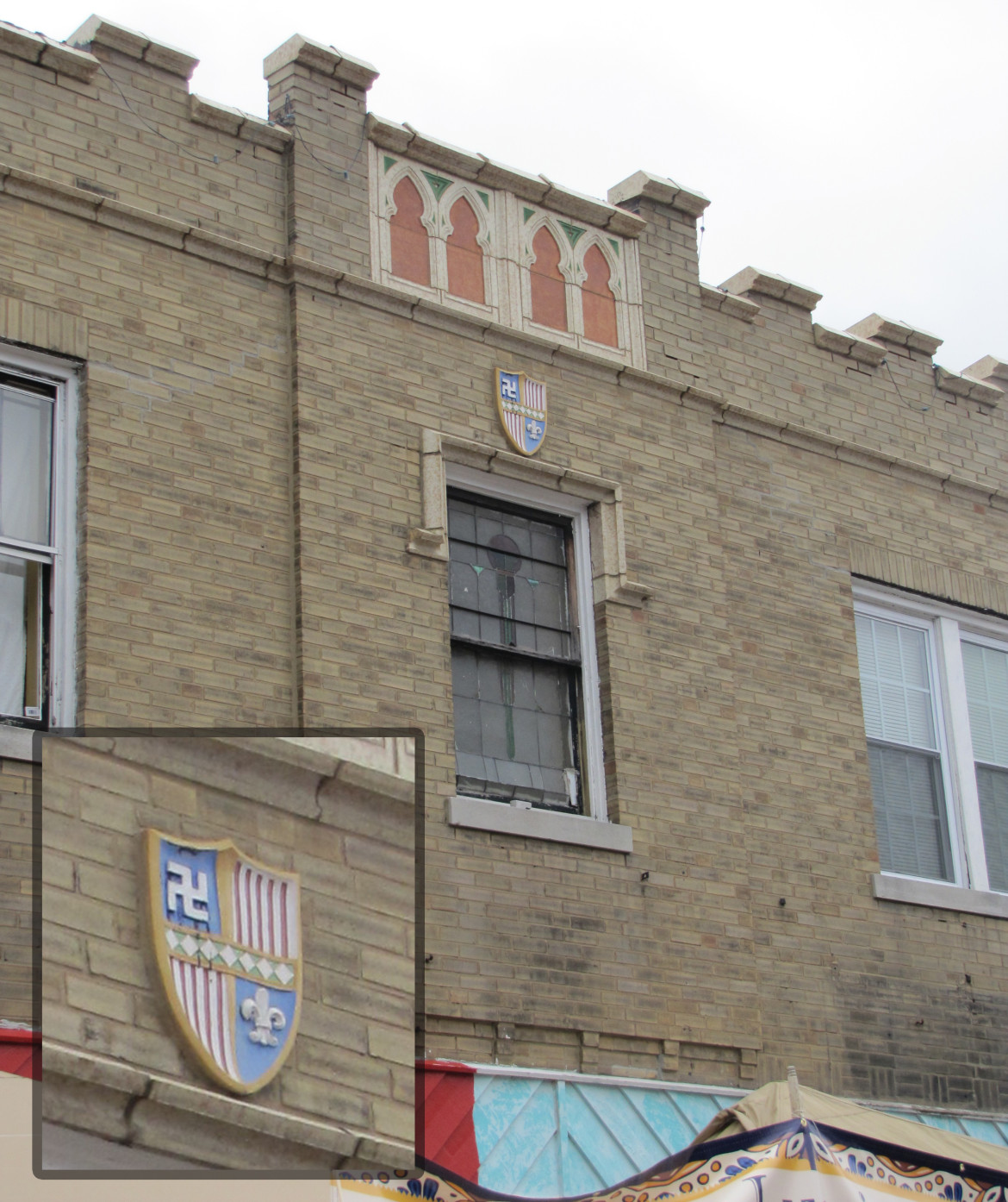 While not in Maplewood, this building on Cherokee in St. Louis has a terra cotta shield that contains a svastika. Notice that it is flipped in the oposite direction of the others. Photo by the author.